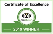 2019 Certification of Excellent from TripAdvisor