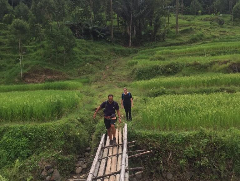 Crossing Bamboo Bridge during Toraja Trekking
